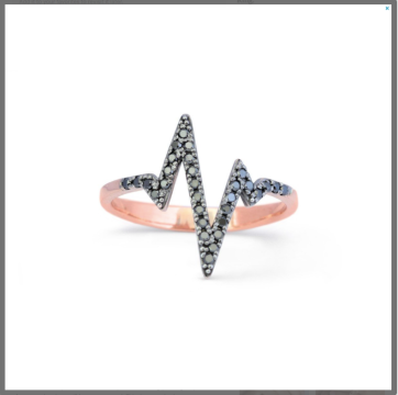 Black Diamond pave' Rose Gold Heartbeat Ring. $475